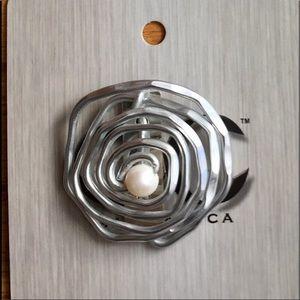 Modern Metal Brooch with Magnet